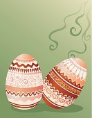 Easter,Easter Egg,Striped,Ornate,Eggs,Holiday,Backgrounds,Ilustration,Animal Egg,Pattern,Green Color,Red,Hand Colored,Decoration,Paint,Elegance,Season,Design,Gift,Food,Vector,Two Objects,Celebration,Swirl