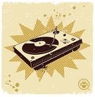 Retro Revival,1940-1980 Retro-Styled Imagery,Radio Dj,Turntable,Old-fashioned,Music,Record,Poster,Silk Screen,Playing,Vector,Symbol,Print,Old,Techno,Dirty,Headphones,Grunge,Silhouette,Sound Mixer,Ilustration,Design Element,Audio Equipment,Spray,Dance,Sepia Toned,Music,Splattered,Splashing,Arts And Entertainment,Arts Backgrounds,Drop,Ink