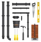 Pipe - Tube,Gutter,Sewer,guttering,Tube,Level,Work Tool,Brick Wall,Plastic,Bucket,White Background,Cylinder,Equipment,Hand Saw,Hammer,Vector Icons,Down Pipe,Objects/Equipment,Illustrations And Vector Art,Screwdriver,Architecture And Buildings