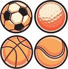 Basketball,Golf Ball,Tennis Ball,Halftone Pattern,Soccer Ball,Sport,Vector,Isolated,Collection,Ilustration,Vector Cartoons,Illustrations And Vector Art,Set,Halftone Pattern