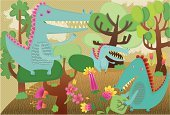 Dinosaur,Forest,Alligator,Surreal,Drawing - Art Product,Landscape,Cartoon,Landscaped,Humor,Out Of Context,Flower,Nature,Reptiles,Landscapes,Illustrations And Vector Art,Animals And Pets,Monster,Fun,Tree,Ilustration