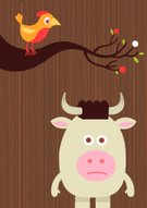 Bird,Cow,Cartoon,Animal,Fruit,Environment,Humor,Brown,Ilustration,Tree,Grained,Characters,Vector,Animal's Crest,Nature,Standing,Fun,Wood - Material,Leaf,Farm Animals,Red,Vector Cartoons,Staring,Animals And Pets,Serious,Horned,Illustrations And Vector Art,Birds