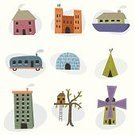 Tree House,Houseboat,House,Built Structure,Igloo,Teepee,Apartment,Building Exterior,Isolated,Vector,Mobile Home,Castle,Tent,Traditional Windmill,Computer Graphic,Ilustration,Design,Textured,Design Element,Residential Structure,Textured Effect,Industrial Windmill,Homes,Illustrations And Vector Art,Architecture And Buildings