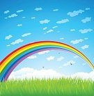 Rainbow,Multi Colored,Vector,Grass,Sky,Cloud - Sky,Backgrounds,Cloudscape,Blue,Field,Landscaped,Green Color,Space,Landscape,Nature,Bird,Land,Summer,Non-Urban Scene,Pasture,Idyllic,Vibrant Color,Rural Scene,Color Image,Meadow,Outdoors,White,Sport,Freshness,Agriculture,No People,Beauty In Nature,Plant,Blade of Grass,Growth,Lawn