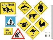 Sign,Kangaroo,Road Sign,Crossing,Road,Alien,Family,Snake,Frame,Bizarre,Vector,Crossing Sign,Street,Running,Rooster,Salmon,Warning Sign,Exoticism,Crosswalk,Highway,Multiple Lane Highway,undocumented,Walking,Warning Symbol,Pedestrian,Domestic Cattle,Suit,Large Group of Objects,Male Likeness,Transportation,Animals And Pets,Concepts And Ideas