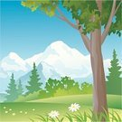 Cartoon,Forest,Landscape,Mountain,Backgrounds,Tree,Outdoors,Woodland,Scenics,Summer,Mountain Range,Ilustration,Non-Urban Scene,Nature,Flower,Vector,Drawing - Art Product,Sky,Beauty In Nature,Clip Art,Plant,No People,Bush,Tree Trunk,Coniferous Tree,Day,Green Color,Tranquil Scene,Lush Foliage,Color Image,Nature,Copy Space,Illustrations And Vector Art,Landscapes