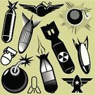 Bomb,Hydrogen Bomb,Missile,Torpedo,Rocket,Vector,Fuse,World War II,Retro Revival,Explosive,Wing,Radioactive Warning Symbol,1940-1980 Retro-Styled Imagery,Icon Set,Old-fashioned,Clip Art,Collection,Black And White,Line Art,Black Color,Star Shape,Vector Icons,Objects/Equipment,Vector Cartoons,Illustrations And Vector Art