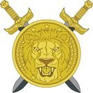Lion - Feline,Sword,Shield,Roaring,Asian Lion,Vector Icons,Illustrations And Vector Art