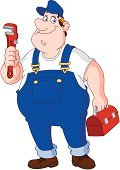 Plumber,Repairing,Bib Overalls,Cartoon,Men,Construction Worker,Manual Worker,Toolbox,Working,Technician,Construction Industry,Occupation,Work Tool,Adjustable Wrench,Coveralls,Large,Repairman,Installing,Box - Container,Wrench,People,Ilustration,Service,Bag,Vector,Job - Religious Figure,Carrying,Cheerful,Male,Industry,Construction,Cute,People,Illustrations And Vector Art,Industry,Blue,Hat