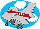 Cartoon,Airplane,Commercial Airplane,Sky,Window,Cloud - Sky,Transportation,Cockpit,depart,Engine,Ilustration,Jet - Band,Fuselage,Cloudscape,Wing,Taking Off