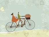 Bicycle,Tandem Bicycle,Cycling,Retro Revival,Love,Old-fashioned,Couple,Women,Heterosexual Couple,Men,Valentine's Day - Holiday,Journey,Valentine Card,Concepts,Ideas,Cartoon,Greeting Card,Landscape,Backgrounds,Togetherness,Freedom,Vector,Friendship,Banner,Happiness,Inspiration,Bouquet,Young Adult,Placard,Horizontal,Unity,Vector Cartoons,Cut Flowers,Copy Space,Valentine's Day,Landscapes,Nature,Holidays And Celebrations,Illustrations And Vector Art