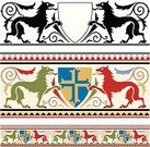 Coat Of Arms,Medieval,Dog,Middle Ages,Shield,Frame,Scroll Shape,The Crusades,Pattern,Seamless,Cross Shape,Silhouette,Cross,Vector,Trophy,Black Color,Hound,Red,Vector Ornaments,Illustrations And Vector Art,Green Color,Dogs,Ilustration,Animals And Pets,Time,Concepts And Ideas
