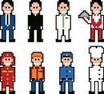 Pixelated,Art,People,Men,Characters,Symbol,Business,Vector,Computer Icon,Cartoon,Doctor,Firefighter,Priest,Male,Police Force,Waiter,Dress,Ilustration,Chef,Variation,Adult,Manual Worker