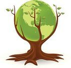 Earth,Tree,Globe - Man Made Object,Green Color,Environmental Conservation,Environment,Symbol,Vector,Leaf,Concepts,Nature,Illustrations And Vector Art,Branch,Concepts And Ideas