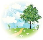 Tree,Cartoon,Landscape,Non-Urban Scene,Flower,Landscaped,Farm,Environment,Springtime,Sky,Nature,Vector,Field,Sun,Green Color,Healthy Lifestyle,Front or Back Yard,Rural Scene,Summer,Growth,Cloud - Sky,Ilustration,Land,Blue,Grass,Sunlight,Seedling,Hill,Bush,Cloudscape,Leaf,Pasture,Plant,Environmental Conservation,Chamomile Plant,Joy,Herb,Elm Tree,Meadow,Tranquil Scene,Outdoors,green landscape,Lawn,Horizon Over Land,No People,Lush Foliage,Tree Trunk,Harmony,Season,foliagé,single tree,Twig,Horizon,Branch