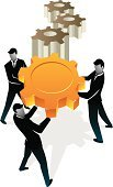 Cooperation,Teamwork,Gear,Men,Business,Holding,Strength,Gold Colored,Gold,Three-dimensional Shape,Ilustration,Working,Machine Part,Abstract,Business Person,Business,Male,Illustrations And Vector Art,Standing,Actions,Carrying,isolated object,Concepts,Shiny,Vector,Composition,Business Concepts