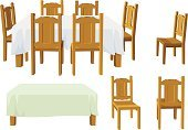 Table,Dining Table,Chair,Tablecloth,Dining Room,Vector,Wood - Material,Ilustration,Indoors,Isolated,Isolated On White,Objects/Equipment,Household Objects/Equipment,Isolated Objects,Isolated-Background Objects,Dining Chairs,Home Interior,household objects,Illustrations And Vector Art