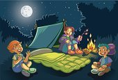 Camping,Cartoon,Night,Fun,Recreational Pursuit,Little Boys,Tent,Ilustration,Moon,Sleeping Bag,Marshmallow,Childhood,Forest,Outdoors,Cheerful,Happiness,Fire - Natural Phenomenon,Toasted,Nature,Nature,Lifestyle,Babies And Children,Vector Cartoons,Moonlight,Smiling,Illustrations And Vector Art