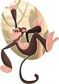 Monkey,Animal,Safari,Vector,Safari Animals,Africa,Cute,Animal Themes,Tree,Hanging,Humor,Ilustration,Animals In The Wild,Clip Art,Primate,Fun,Tail,Vine,Moving Up,Wildlife,Brown,Smiling,Animals And Pets,One Animal,Holding,Illustrations And Vector Art,Wild Animals,Isolated On White,Vector Cartoons,No People,Nature,Mammals,Cheerful,Full Length,Mammal,Copy Space