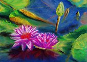 Pastel Drawing,Drawing - Art Product,Landscape,Paintings,Water Lily,Pencil Drawing,Flower,Water,Color Image,Painted Image,Ilustration,Artist's Canvas,Painter,Image,Decoration,Multi Colored,Creativity,Scenics,Arts And Entertainment,Abstract,Style,Arts Backgrounds,Outdoors,Paper,Design,Computer Graphic,Arts Abstract,Leaf,Artist,Plant,Visual Art