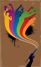 Rainbow,People,Paintbrush,Painting,Human Hand,Multi Colored,Energy,Silhouette,Backgrounds,Grunge,Hand Raised,Arms Raised,People In The Background,Group Of People,Wave Pattern,Splattered,Youth Culture,Painted Image,Unrecognizable Person,Dance,Arts Backgrounds,Music,Arms Outstretched,Stained,Vertical,Arts And Entertainment