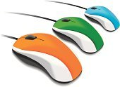 Computer Mouse,Orange Color,Blue,Green Color,Isolated,In A Row,Cable,Technology,Computers,White,White Background