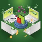 E-commerce,Computer,Internet,Shopping,Isometric,Buying,Retail,Technology,Business,Communication,Computer Network,Gift,e-shop,Market,Shopping Bag,Buy,Laptop,Fun,Making Money,Commercial Activity,Happiness,Backgrounds,Green Color,PC,Cheerful,Aerial View,Wealth,Dollar,Coin,Ilustration,Vector,Technology,Cool,Shiny,Dollar Sign