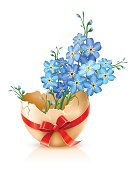Forget-Me-Not,Easter,Eggs,Vector,Cracked,Animal Egg,Flower,Springtime,Broken,Gift,Plant,Bow,Animal Shell,Drawing - Activity,Color Image,Season,Illustrations And Vector Art,Drawing - Art Product,Nature,White,Red,Isolated,Single Object,Ribbon,Blossom,Decoration,Blue,Ellipse,Easter,Holidays And Celebrations,Nature,Ilustration