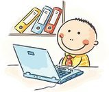 Cartoon,Computer,Laptop,Office Worker,Office Interior,Drawing - Art Product,Ring Binder,Sitting,Businessman,Ilustration