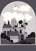 Castle,Bird,Mansion,House,Night,Ilustration,Tree,Cloud - Sky,Vector,Symbol,Design,Travel Locations,Objects/Equipment,Landscape,Mountain,Weather,Lifestyles,Sunset,Group of Objects