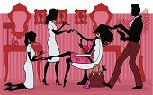 Hair Salon,Beauty Spa,Hairdresser,Spa Treatment,Beauty,Manicure,Women,Pampering,Pedicure,Silhouette,Chair,Cartoon,Mirror,Make-up,Princess,Men,Dog,Vector,Indulgence,Fashion,Hair Dryer,Beauty Treatment,Picture Frame,Ilustration,Profile View,Female,Hairbrush,Femininity,Characters,Dress Shoe,Pets,Electric Lamp,Style,Purse,High Heels,Beauty And Health,Elegance,Makeup/Cosmetics,Illustrations And Vector Art,People,Vector Cartoons