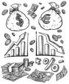 Coin,Drawing - Art Product,Currency,Ilustration,Paper Currency,Ink,Euro Symbol,Finance,Percentage Sign,Chart,Bag,Business,Minus Sign,Change,Vector,Coloring,Dollar Sign,Clip Art,Plus Sign,Black And White,Vector Cartoons,Business Symbols/Metaphors,Illustrations And Vector Art,Business