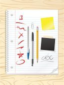 Desk,Notebook,Pen,Ring Binder,Paper,Pencil,School Supplies,Note Pad,Doodle,Felt Tip Pen,Organization,Textured,Squiggle,Textured Effect,Photograph,Wood - Material,Group of Objects,Above,Photo Booth Picture,Directly Above,Adhesive Note,High Angle View,Instant Print Transfer,Text,Office Supply,wood texture,Education,Spiral Binder,Business,Illustrations And Vector Art,Industry