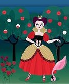 Alice in Wonderland,Queen Of Hearts,Non-Urban Scene,Fairy Tale,Fantasy,Flamingo,Picture Book,Costume,Book,Rose - Flower,Real People,Magic,Crown,Tree,Landscape,Woodland,Illustrations And Vector Art,People,Displeased,Vector Cartoons,Furious,Evil,Graduation Gown,Anger