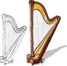 Harp,Musical Instrument,Music,Sketch,Musical Instrument String,Cartoon,Drawing - Art Product,Gold,Ilustration,Isolated-Background Objects,Vector Cartoons,Music,Arts And Entertainment,Pencil Drawing,Illustrations And Vector Art,Isolated Objects