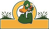 Duck,Mallard Duck,Mascot,Furious,Sign,Displeased,Cigar,Anger,Bird,Cattail,Cruel,Banner,Green Color,Yellow,Animals And Pets,Illustrations And Vector Art,Nature,Birds,Animal,Brown,Fist,Frowning,Placard,Orange Color