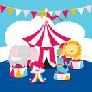 Circus,Clown,Carnival,Traveling Carnival,Cartoon,Cute,Lion - Feline,Elephant,Circus Tent,Seal - Animal,Circus Performer,Fun,Cheerful,Multi Colored,Arts And Entertainment,Happiness,Animals And Pets