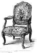 Chair,Antique,Victorian Style,Old-fashioned,Furniture,Engraving,Engraved Image,Retro Revival,Old,Pattern,Obsolete,Design,Flower,Ornate,Group of Objects,Classical Style,Decor,Domestic Life,Floral Pattern,Craft,Decoration,Carving - Craft Product,Leg,Geometric Shape,Design Element,White Background,Isolated Objects,Objects/Equipment