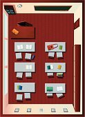 Classroom,Aerial View,Directly Above,Desk,Chair,Lecture Hall,High Angle View,School Building,Education,Domestic Room,Indoors,Door,Flooring,Parquet Floor,Blackboard,Shelf,Clock,Book,Window,Ring Binder,Empty,No People,Wall,Learning,Study,Studying,Architecture And Buildings,Bag,Illustrations And Vector Art,Notebook