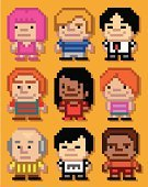Pixelated,People,pixel art,Men,Community,Multi Colored,Computer Icon,Little Boys,Computer Graphic,Teenage Girls,Variation,Collection,Women,Businessman,People,Set,Group Of People