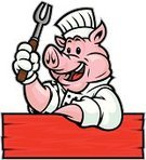 Pig,Barbecue,Chef,Mascot,Vector,Cooking,Domestic Pig,Ilustration,Smiling,Cheerful,Happiness,Wood - Material,Fast Food,Flame,Tongs,Plank,Fast Food Restaurant,Uniform,Livestock,Tongs,Isolated,Food And Drink,Illustrations And Vector Art,Hand Sign,Junk Food/Fast Food,Vector Cartoons,White Background