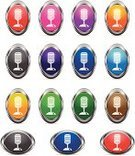 Microphone,Ellipse,Curve,Computer Icon,Wide,Metallic,Red,White,Communication,Sound Recording Equipment,Orange Color,Technology,Illustrations And Vector Art,Symbol,Silver Colored,Empty,Blue,Metal,No People,Electrical Equipment,Ilustration,Blank,Vector,White Background,Set,Long,Green Color,Technology
