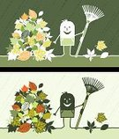 Gardening,Leaf,Heap,Rake,Humor,Autumn,Men,Cartoon,Working,People,Nature,Gardening Equipment,Vector,Drawing - Art Product,Illustrations And Vector Art,Nature,Manual Worker,Color Image,Fall,Vector Cartoons,Sketch,Ilustration,Characters,Green Color,Season