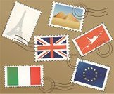 Postage Stamp,Travel,Travel Destinations,International Landmark,Paris - France,Eiffel Tower,Europe,Mail,Postmark,UK,Vector,Cultures,British Culture,National Flag,Famous Place,Flag,English Culture,Egypt,City,Italy,Ilustration,England,Tourism,Built Structure,National Landmark,Illustrations And Vector Art,Isolated Objects,Travel Locations,Arranging