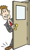 Door,Opening,Human Foot,Cartoon,Men,Sales Occupation,Employment Issues,Businessman,Occupation,Business,Opportunity,Job - Religious Figure,Success,Luck,Chance,People,Cute,White Collar Worker