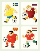 Soccer,Soccer Player,Soccer Ball,Viking,Flag,Cartoon,Sweden,Hungary,Russia,Isolated,Sport,Symbol,Mascot,Playing,Republic Of Macedonia,Europe,Humor,Green Color,Yellow,Cheerful,Sports And Fitness,Colors,Ilustration,Characters,Running,Sports Activity,Red,Ball,White,Team Sport,Vector Icons,Fun,White Background,Gold Colored,Vector Cartoons,Happiness,Shooting at Goal,Caucasian Ethnicity,Scandinavia,Vector,Color Image,Illustrations And Vector Art,Smiling,Team Sports,Soccer Uniform,Action