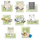 Tax,Bill,Banking,Financial Advisor,Finance,Wealth,Document,Currency,Savings,Calculator,Time,Business,Pen,Paper Currency,Office Interior,Buying,Coin,Ilustration,Vector,Gold Colored,Dollar Sign,Illustrations And Vector Art,Business,Business Concepts,Objects/Equipment,Clip Art,Gold,Contract,Investment,Sign