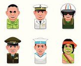 Sailor,Navy,Officer,Air Force,Army,Armed Forces,Computer Icon,Icon Set,Avatar,Cartoon,Marines,Recruit,Admiral,People,Human Face,Human Head,Vector,Ilustration,Men,Women,mercenary,Set,Authority,Illustrations And Vector Art,People,Vector Icons,Smiling
