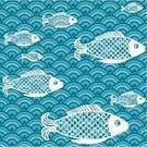 Fish,Wave,Japanese Culture,Seamless,Sea,Water,Simplicity,Wave Pattern,Saltwater Fish,Ilustration,Underwater,Vector,Turquoise,Wallpaper Pattern,Seascape,Vector Ornaments,Vector Cartoons,Vector Backgrounds,Sea Life,Blue,Illustrations And Vector Art