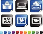 Movie Theater,Curtain,Stage Theater,Theatrical Performance,Computer Icon,Movie,Film,Black Color,Catwalk - Stage,Folded,Icon Set,Countdown,Film Industry,Square Shape,Red,Number 5,Camera - Photographic Equipment,Vector,Label,Square,Comedy Mask,Film Reel,Green Color,Tragedy Mask,Entertainment,Design,Ilustration,Shiny,Nightlife,Page Curl,Camera Film,Blue